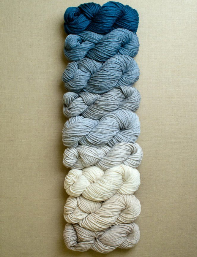 Purl Soho Worsted Weight Bundle for the Linen Stitch Colorblock Wrap - in Winter Beach